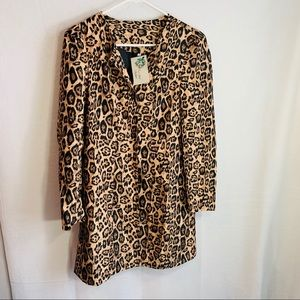 NWT leopard print long Windbreaker jacket